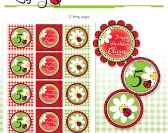 "Red Ladybug Printables - 2"" Birthday Party Circles - DIY - Do-It-Yourself Printables - Ladybugs"
