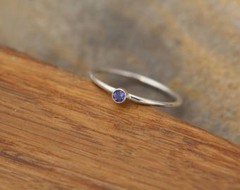 Iolite Stacking Ring -  Skinny Iolite Ring  - Made with Round Band in Choice of Silver, Yellow Gold or Rose Gold