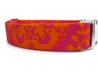 Designer Dog Collar in Tangerine and Raspberry