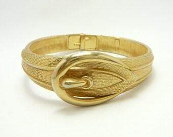 Vintage Gold tone Belt Cuff Clamper Bangle Bracelet