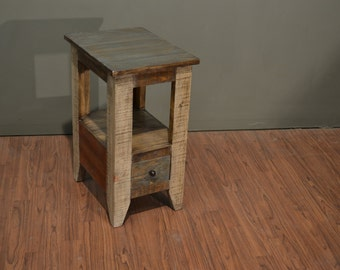 rustic end tables. Rustic Modern Style Solid Pine Wood Multi Colored Narrow End Table / Side Or Nightstand Tables