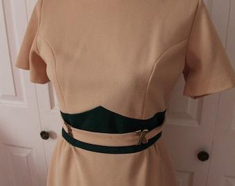 1960s Tan Mad Men Wiggle Dress Large