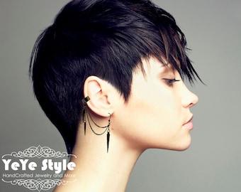 Gunmetal Ear Cuff, Ear Cuff Earrings, Spike Earrings,  Gunmetal Earrings, ER-0096