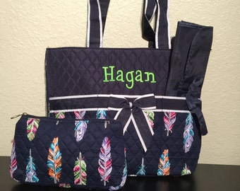 Feather Print Monogrammed Diaper Bag Navy Blue Trim