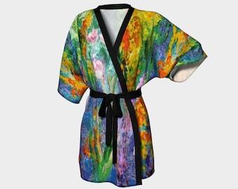 1278014534 Meadow Flowers 1 Kimono Robe Mom Daughter Yoga Bath Womens Clothing Leisure  Ladies Wrap Printed Kimono floral printed Bathrobe wearable art