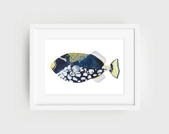 Clown Triggerfish | Original Watercolour Painting | Triggerfish | Coral Reef Fish | Fish | Watercolour Painting | Fish Painting |