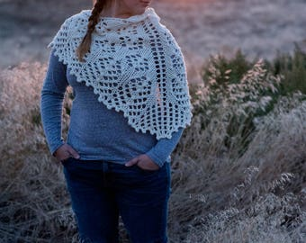 Wild Prairie Shawlette in Cream