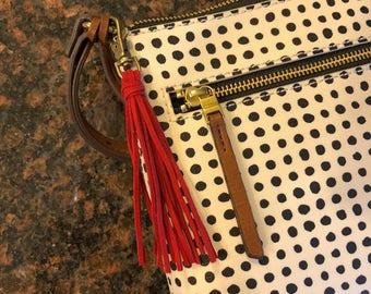 Handmade vegan suede leather tassel keychain or lobster clasp
