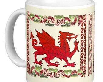 Welsh Mug With Dragon And Celtic Knots, Welsh gift mug