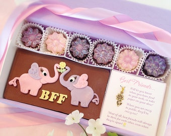 Best Friends Chocolate Gift - Best Friend Gift - BFF Birthday Present - Elephants - Daisy Necklace Charm - Gift for BFF - Daisy Charm
