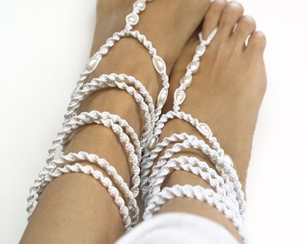 High Wrap Beach Wedding Shoes, Pearl Barefoot Sandals, Bridal Barefoot Sandals, 1 Pair