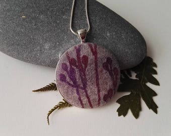 Hand Made Nuno Felt Pendant in Soft Pinks and Purple with Botanical Design