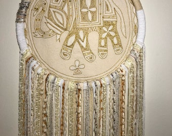 Large Dreamcatcher - elephant, white/beige and gold (16in)