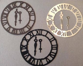 Clock face (3) paper die cut embellishment with hands