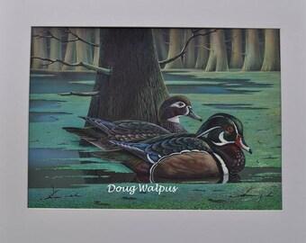 Wood Duck Painting, Original, Wood Duck Art, Animal Wildlife, Wall Decor, Cabin Decor, Ducks, Waterfowl, Gifts, Birds, Home Decor