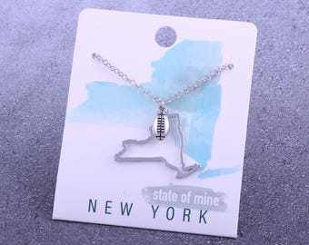 Customizable! State of Mine: New York Football Silver Necklace - Great Football Gift!