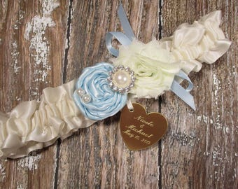 Personalized Ivory and Blue Wedding Garter with Light Blue Rose, Rhinestones, Pearls and Engraving