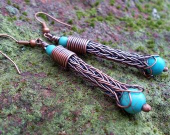 Viking knit earrings Copper earrings wire wrapped drop earrings Turquoise earrings Turquoise drops viking knit jewelry turquoise jevelry