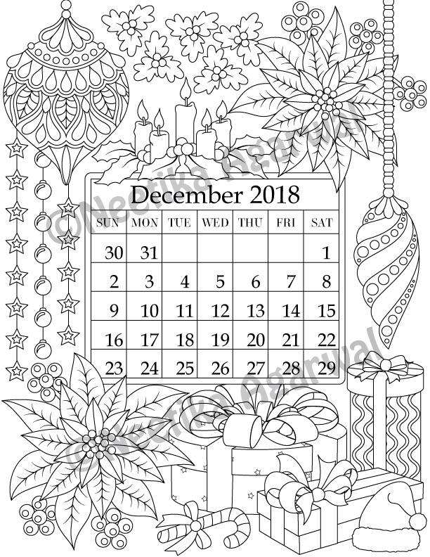 December 2018 coloring page calender planner doodle Coloring book of shadows planner for a magical 2018