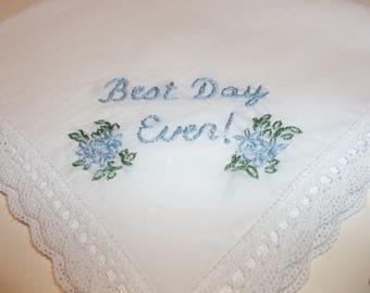 something blue, best day ever, wedding handkerchief, blue for bride, bridal gift, rustic wedding, daisy enclosure, wedding gift, hankerchief