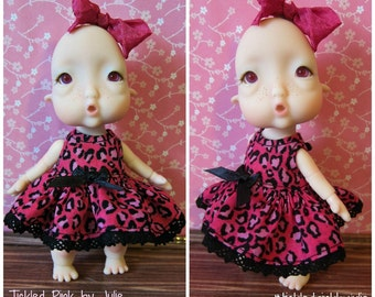 Tiny BJD Pink Leopard Print Babydoll Dress for Baby Humpty by Tickled Pink by Julie