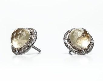 Gold citrine earrings ,Citrine stud earrings, Citrine  post, gift for her, Inspirational , Anniversary, Natural stones, Stud Earrings