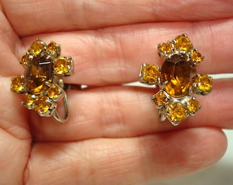 1950s Citrine and Topaz Colored Jeweled Earrings.