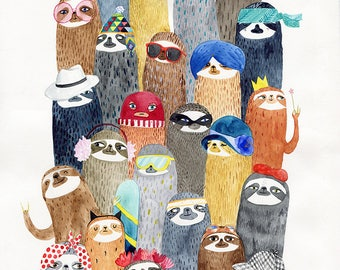 Sloths sloths A4 print - watercolor illustration print