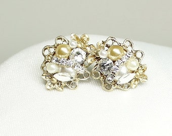 Gold Bridal Earrings- Vintage-Inspired Statement Studs- Clip Earrings- Gold & Ivory Earrings- Gold Wedding Earrings- Gold Post Earrings