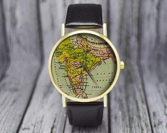 Antique world map watch old map cartography travel gift antique india map watch old map cartography leather watch ladies watch mens watch unisex gift ideas fashion accessories gumiabroncs Images