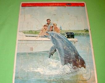 Flipper dolphin movie vintage jigsaw puzzle rare collectible Whitman original TV television ocean animal