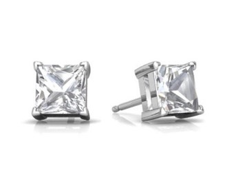 14Kt White Gold White Topaz Princess Cut Stud Earrings