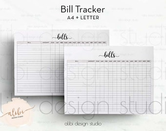 Bill Tracker, Planner Printable, Bill Inserts, Finance Planner, Bills Calendar, Monthly Bill Tracker, Bill Organizer, A4 Printable, Letter