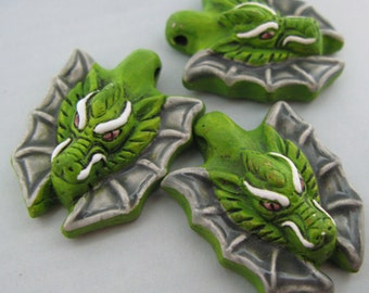 4 Large Green Dragon Head Beads - Ceramic Beads - Peruvian Beads - LG04