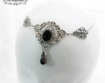 Dark enchantress silver circlet-gothic circlet-circlet-circlet with gem-gothic headpiece-hair jewelry