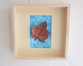 maple leaf picture, textile art, embroidery