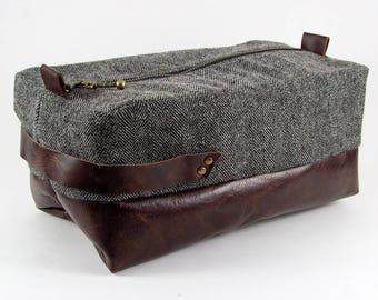 Standard Men's Toiletry Bag Dopp Kit Travel Kit Dopp Bag Leather Shaving Shave Gifts For Him Dad Father's Day Herringbone