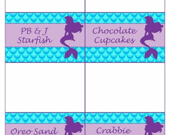 Mermaid / Under the Sea Party Food Labels, Tent Cards, Food Tags, Instant Download - Editable File at home with Adobe Reader
