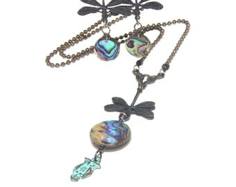 Dragonfly & Paua Shell Earrings, Necklace or Combination Set - Unique, Graceful, Eye-Catching Jewelry