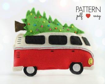 Camper Christmas Ornament  Felt VW Decoration  VW Bus Felt Christmas Ornament Pattern  Decoration Sewing Pattern  Camper Decor  Combi