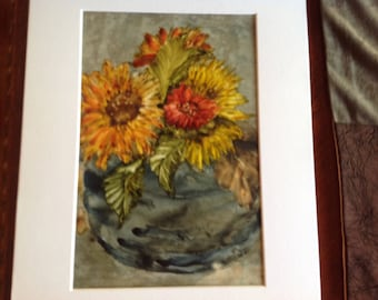Original watercolor, zinnias in a blue pot on yupo paper
