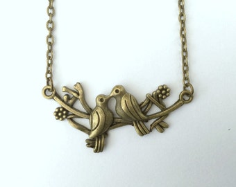 Love birds necklace, turtle dove necklace, love birds, dove necklace, mothers day necklace, bird necklace, branch necklace, woodland, spring