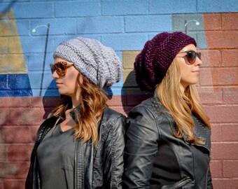 Tam Hat Women's Knit Slouchy Purple Hat, Women's Knit Sacking Hat ,Women's Knit Hipster Hat, Slouchy Beehive Beanie, Women's Knit Beanie