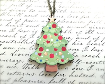 Decorated Christmas Tree Necklace. Festive Christmas Jewelry. Holiday. Brass Vintage Style Chain. Wood Jewelry. Green Tree. Under 15 Gifts.
