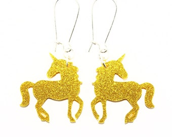 Sparkle Unicorn Dangle Earrings in Silver or Gold, Unicorn Earrings, Unicorn Dangles, Unicorn Jewelry, Fantasy Earrings, Magical Earrings