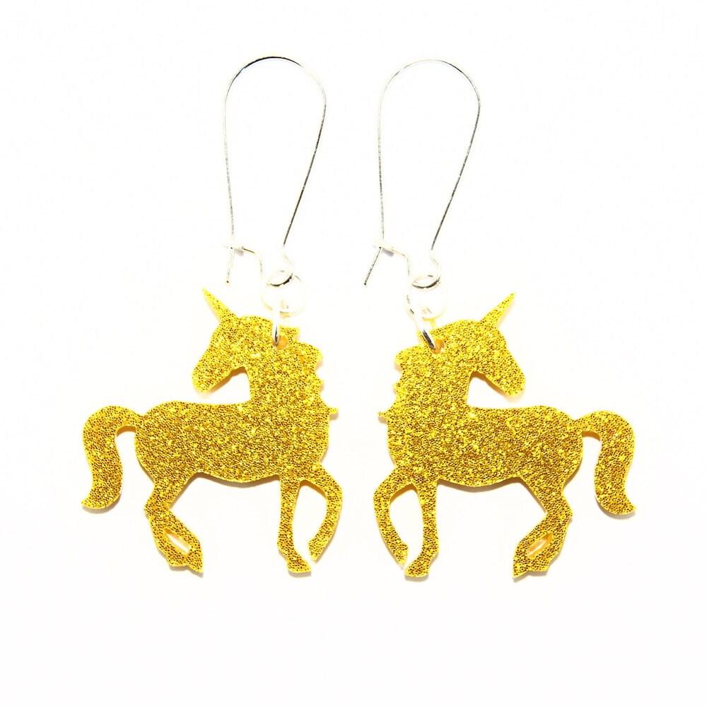 Sparkle Unicorn Dangle Earrings in Silver or Gold Unicorn