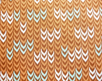 Khristian Howell Rust/ Brown Tiny Chevron Patterned 100% Cotton Fabric