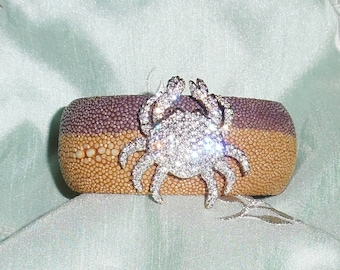 "GENUINE Exotic Stingray Tan, Purple Polished Exotic Leather, Signed Swarovski Crystal Crab Brooch, 1 1/4"" Cuff Bracelet"