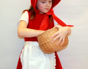 Little red riding hood costume/Girl costume/Kids Costume/red riding hood dress up/ handmade costume