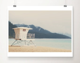lake tahoe photograph california photograph lifeguard tower photograph canoe photograph mountains photograph california print